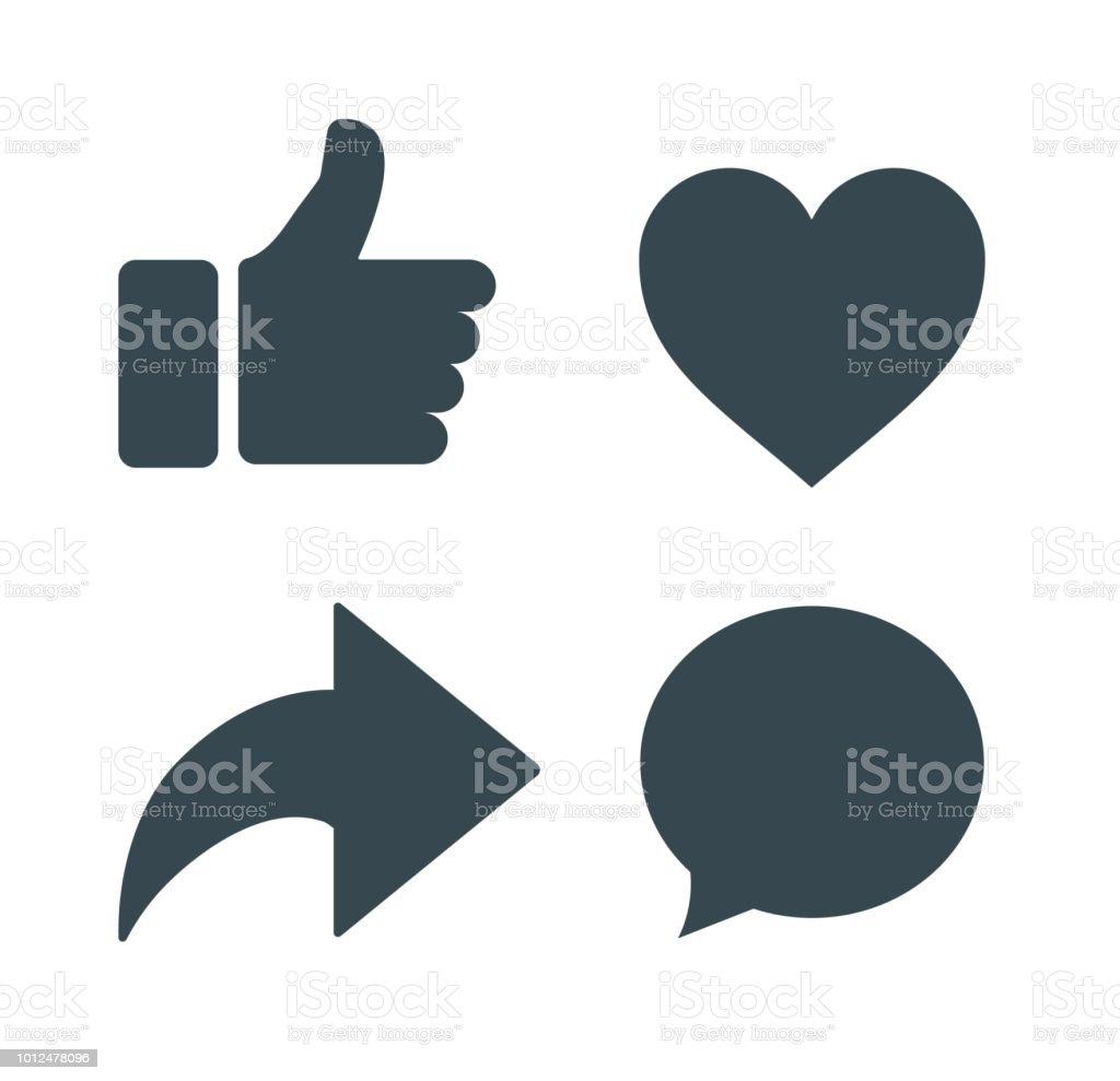 Pouce En Lair Et Licone Du Cœur Avec Des Icones Repost Et Commentaire Sur Un Fond Blanc Icone Au Visage Icone Des Medias Sociaux Facebook Reactions Empathiques Emoji Vecteurs Libres De Droits