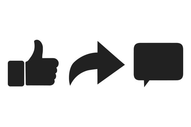 thumbs up and heart icon with repost and comment icons on a white background. - wspólnie korzystać stock illustrations