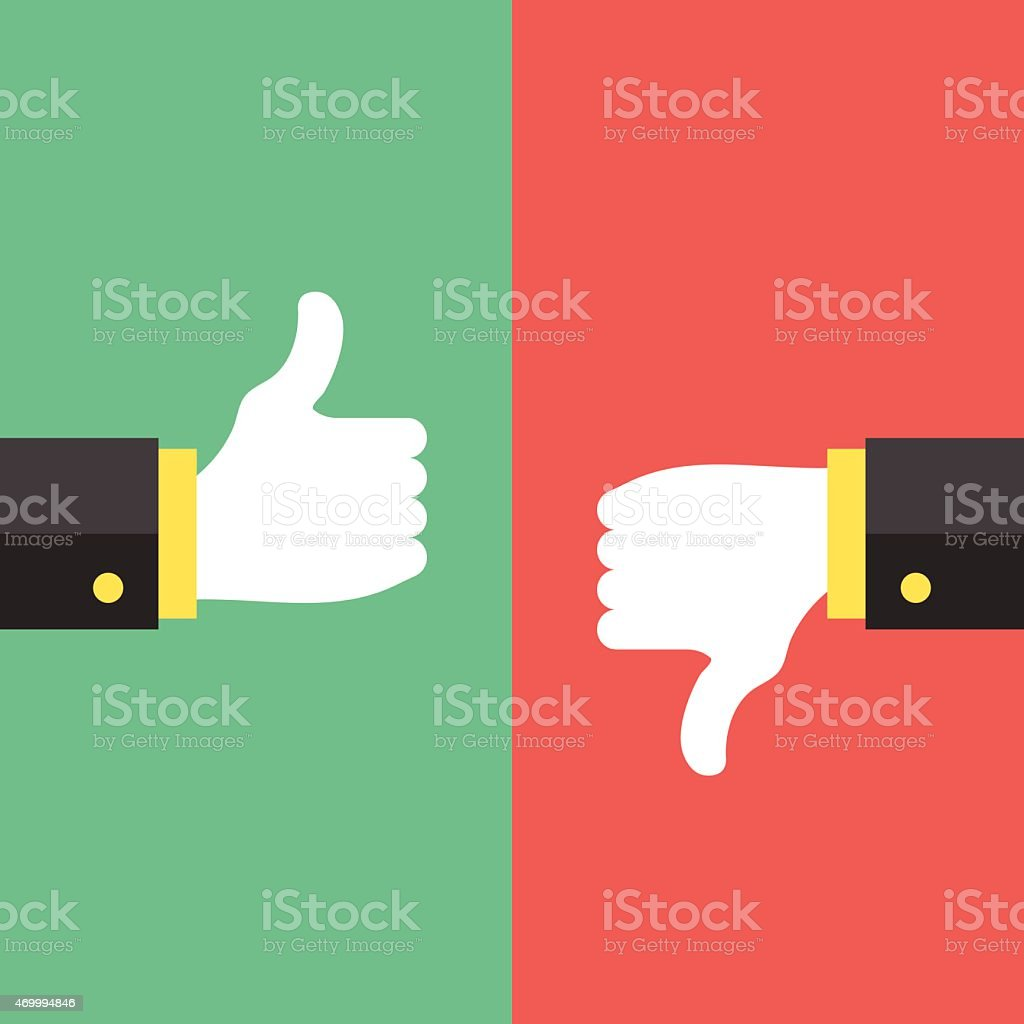 Thumbs up and thumbs down hand sign vector art illustration