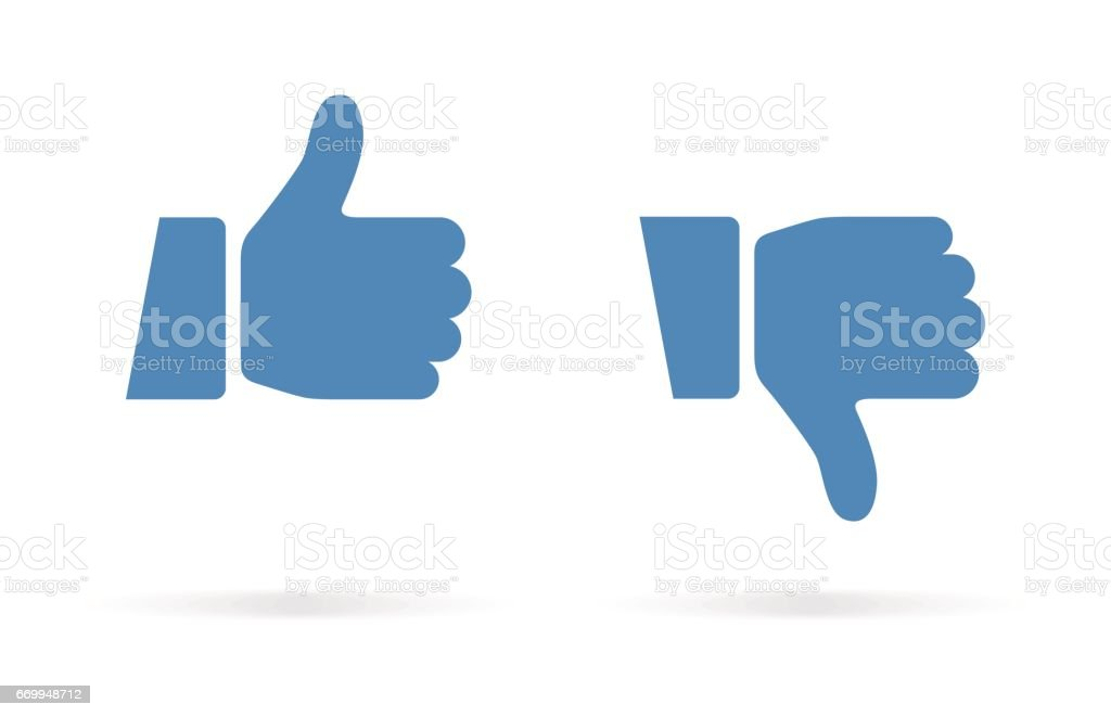 Thumbs Up and Thumbs Down Icon vector art illustration