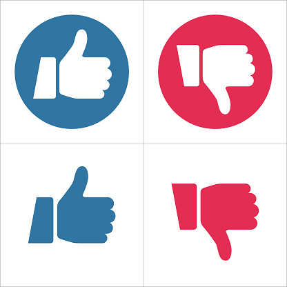 Thumbs Up and Thumbs Down Icons - Like and Dislike