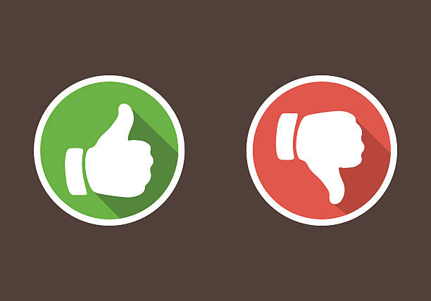 Thumbs up and thumbs down in flat style Thumbs up and thumbs down in flat style. attitude stock illustrations