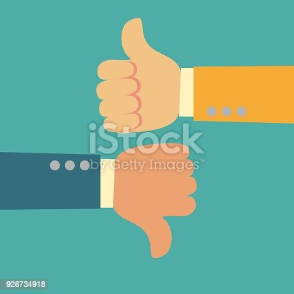 Thumbs Up And Thumbs Down Like And Dislike Symbol Stock Vector Art