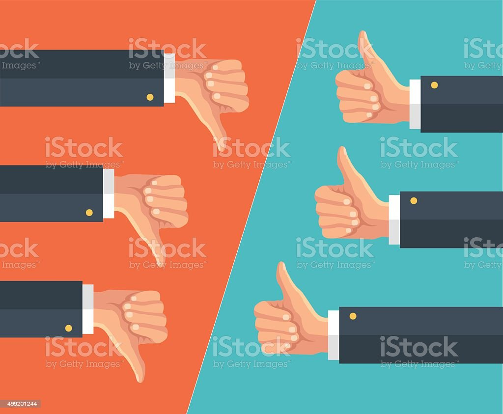 Thumbs up and thumbs down. Vector flat illustration vector art illustration