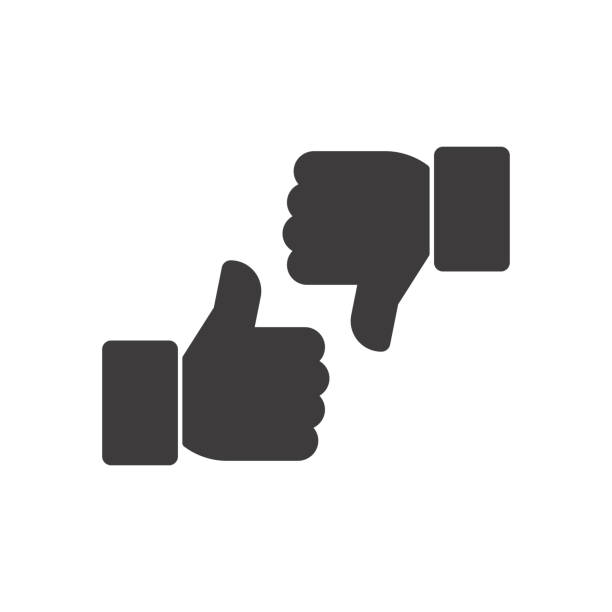 Thumbs up and thumbs down. Vector icon Thumbs up and thumbs down. Vector icon attitude stock illustrations