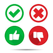Thumbs up and Thumbs down, Yes, No, icons
