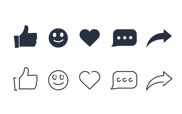 Thumbs up and with repost and comment icons on a white background. Social media icon, empathetic emoji reactions Thumbs up and with repost and comment icons on a white background. Social media icon, empathetic emoji reactions icon set. Network line and solid icons for active web signs heart, share and comment imitation stock illustrations