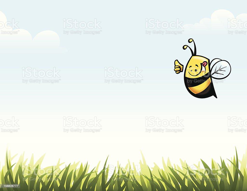 Thumbs up bee. vector art illustration