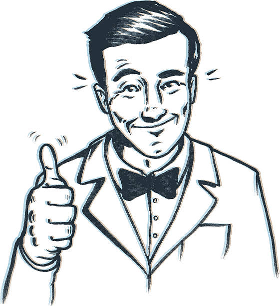 thumbs up bow tie guy - 1940s style stock illustrations