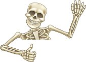 Thumbs Up Cartoon Halloween Skeleton