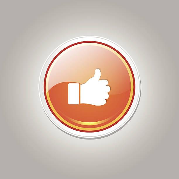 daumen hoch runde vektor orange web icon-button - schlüsselfertig stock-grafiken, -clipart, -cartoons und -symbole