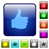 Thumbs up color square buttons