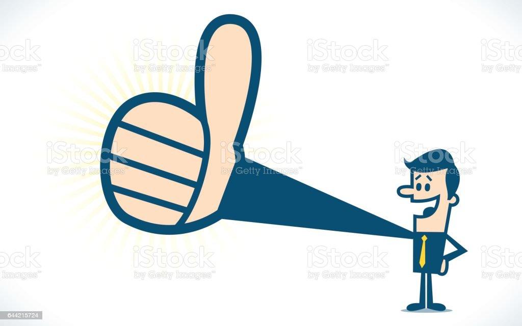 Thumbs up.  Created with adobe illustrator. vector art illustration