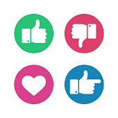 Thumbs up down sign. Point finger and heart icons in red and green circle. Social media love user reaction vector isolated buttons