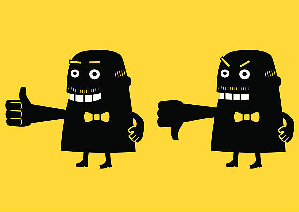 thumbs up & down (boss) | yellow business concept - old man showing thumbs up cartoons stock illustrations, clip art, cartoons, & icons
