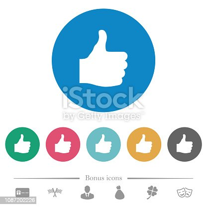 Thumbs up flat white icons on round color backgrounds. 6 bonus icons included.