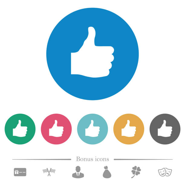 thumbs up flat round icons - thumbs up stock illustrations