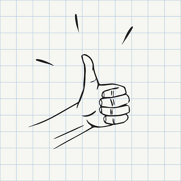 thumbs up gesture doodle icon - kciuk stock illustrations