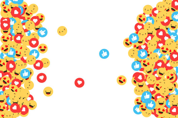 Thumbs up, heart and emoji Feeling Faces. Social network icons. Vector illustration in flat design Thumbs up, heart and emoji Feeling Faces. Social network icons. Vector illustration in flat design social media stock illustrations