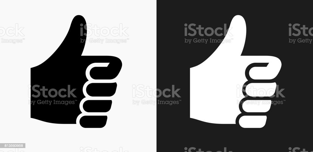 Thumbs Up Icon on Black and White Vector Backgrounds royalty-free thumbs up icon on black and white vector backgrounds stock vector art & more images of agreement