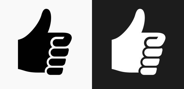 Thumbs Up Icon on Black and White Vector Backgrounds vector art illustration