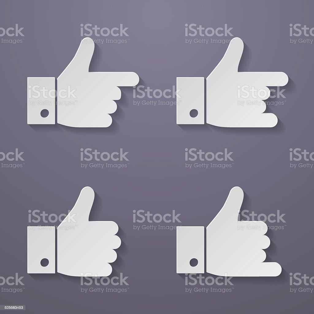 Thumbs up icon set. vector art illustration