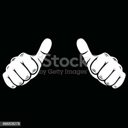 Vector thumbs up line art vector Illustration