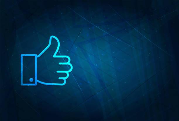 ilustrações de stock, clip art, desenhos animados e ícones de thumbs up like icon futuristic digital abstract blue background - prazer