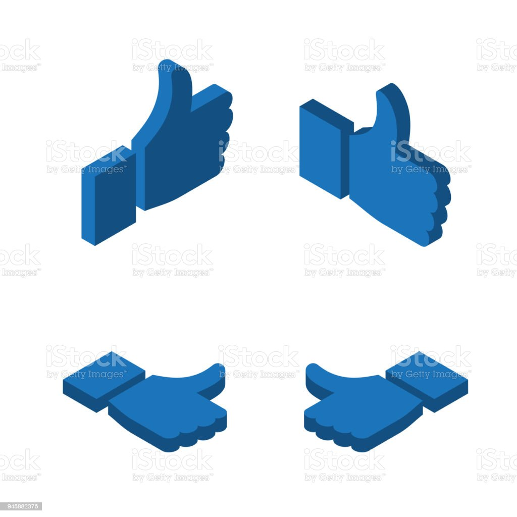 Thumbs up like icons. Symbol hand with thumb up. isometry. Different...