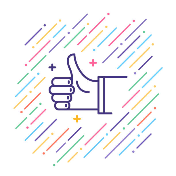 Thumbs Up Line Icon Line vector illustration of admiration gesture. good news stock illustrations