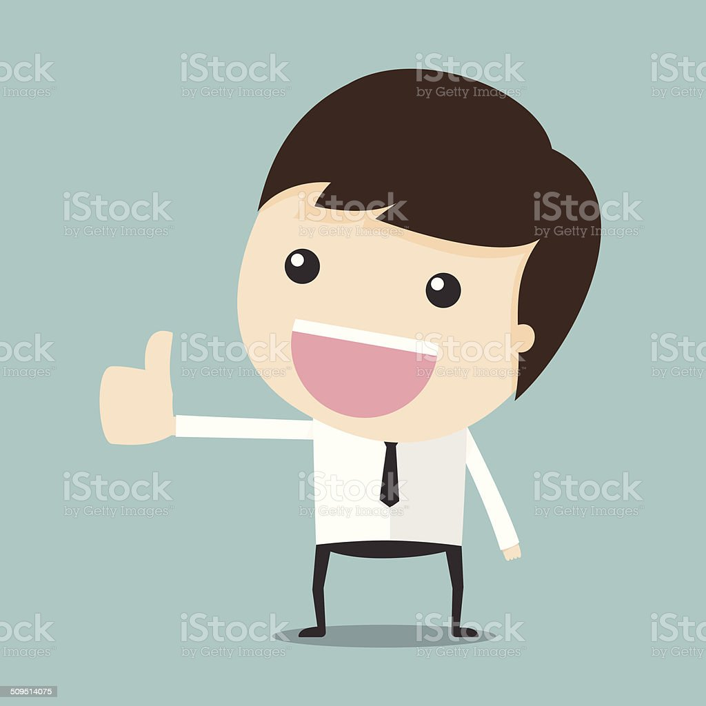 Thumbs up man vector art illustration