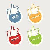 Thumbs Up Paper Stickers
