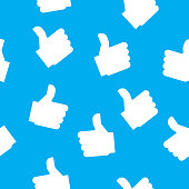 Vector illustration of hands giving thumbs up in a repeating pattern against a blue background.