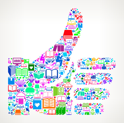Thumbs Up  Reading Books and Education Vector Icon Background