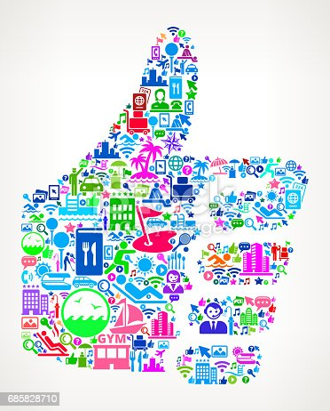 Thumbs Up  Resort Hotel and Hospitality Industry Icon Background. The main image is composed of hotel and resort vector icons. The icons vary in size and color and include such hotel and hospitality icons as luggage, valet, swimming pool, resort, front desk, security key, and other classic travel iconography. The background of this vector illustration is white. This composition is perfect for all your hotel vacation and hospitality needs.