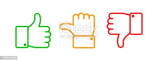 Thumbs up set. Green like red dislike and yellow undecided line icons. Thumb up and down vector outline hand, like dislike pointing gesture hands isolated web buttons sign