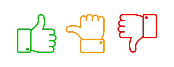 thumbs up set. green like red dislike and yellow undecided line icons. thumb up and down vector outline isolated web buttons - kciuk stock illustrations