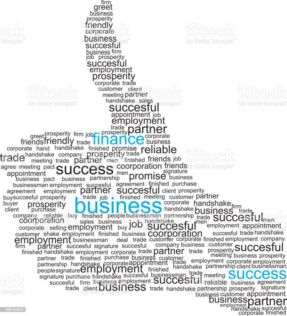 Thumbs up sign made from business-related words royalty-free thumbs up sign made from businessrelated words stock vector art & more images of adult