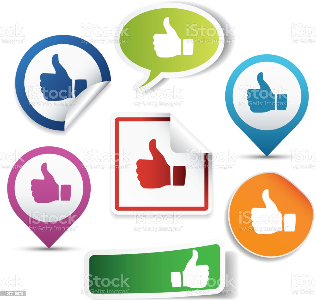 Thumbs up stickers royalty-free stock vector art