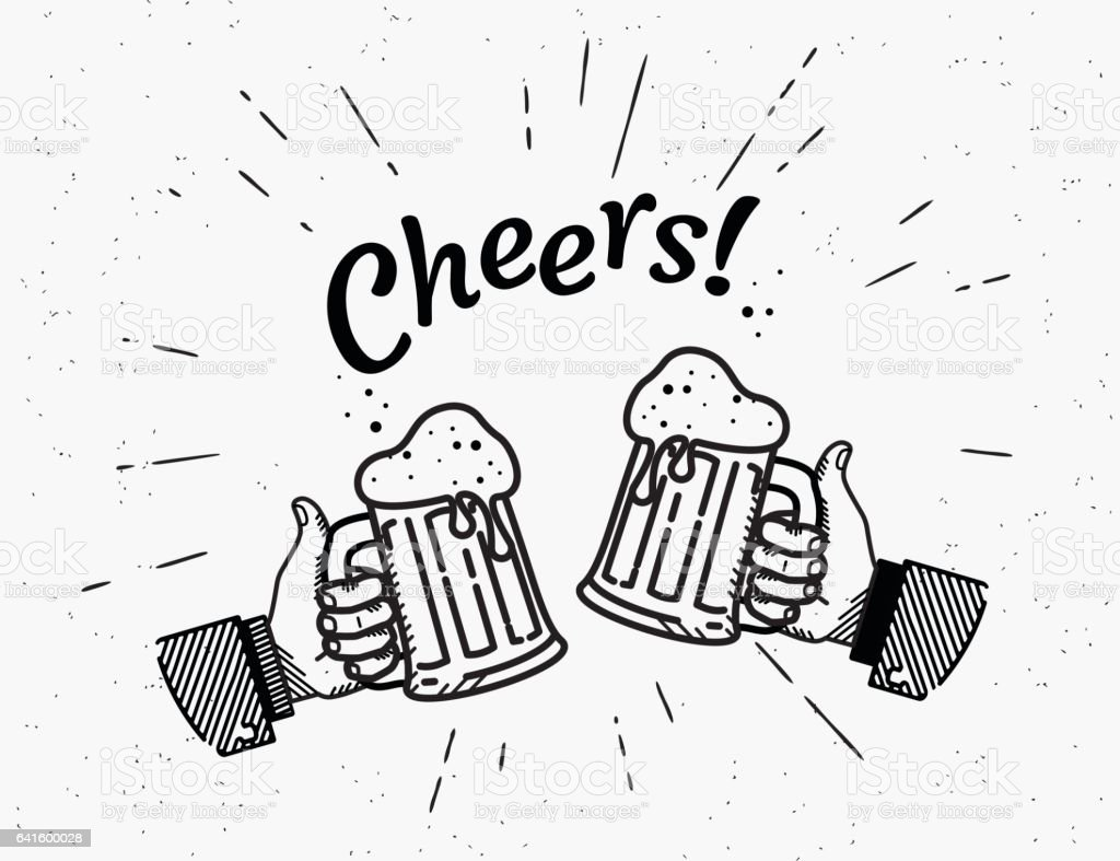 Thumbs up symbol icon with beer bottle vector art illustration
