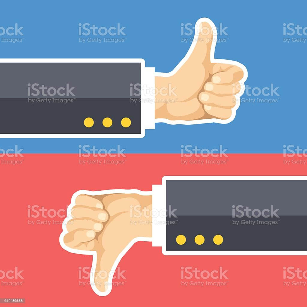 Thumbs up and thumbs down. Hands with like and dislike isolated on...