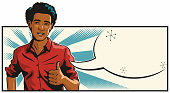 Pop art illustration of a handsome young  African American man giving the thumbs up. With empty speech bubble for your text.