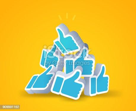 Thumbs up social media 3D likes.