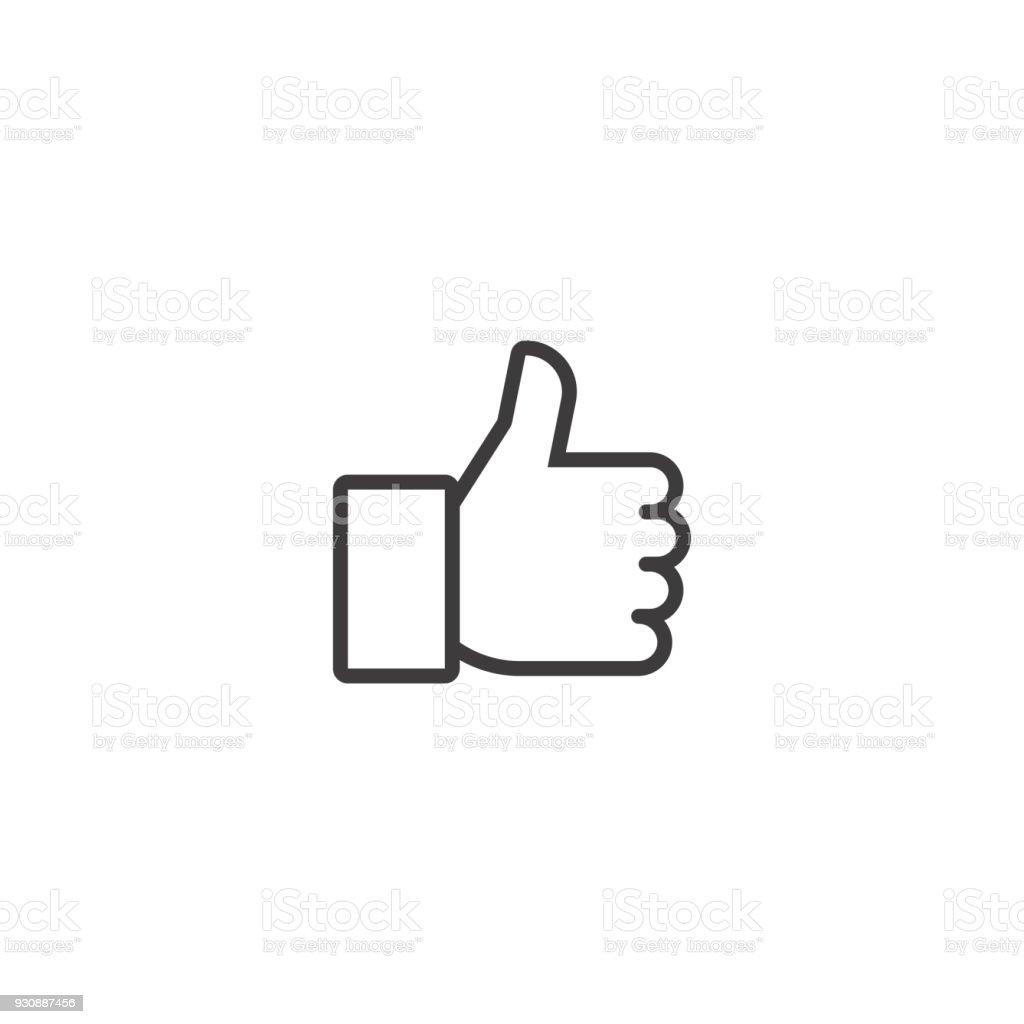 Pulgar hacia arriba. Icono de vector línea ilustración de pulgar hacia arriba icono de vector línea y más vectores libres de derechos de alegría libre de derechos