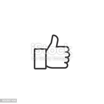 istock Thumbs up. Vector line icon 930887456