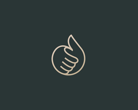 Thumbs up vector logotype. Linear like symbol design.