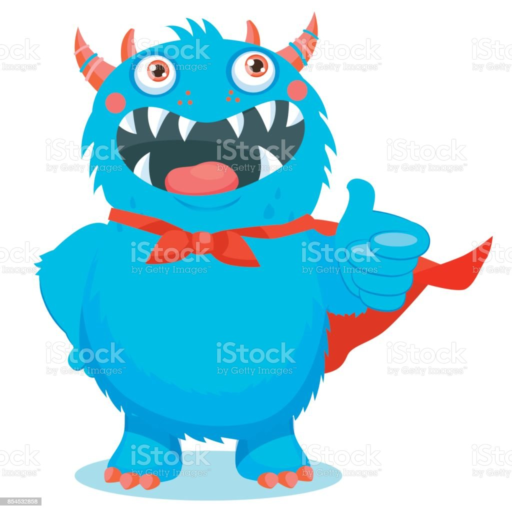 Thumbs Up Vector. Superhero Monster. Your Inner Cute Beast. Cute Monster Cartoon Mascot. vector art illustration