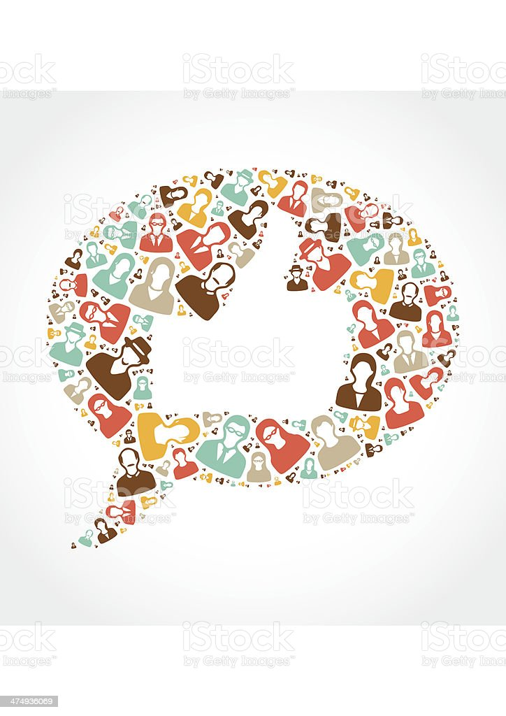 Thumb-up inside a speech bubble vector art illustration
