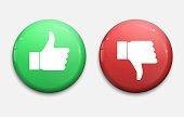 Thump Up and Thump Down Hands - vector illustration, green and red buttons