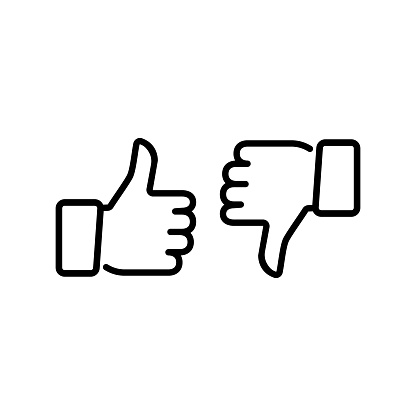 Thumps up and down, vector icon.